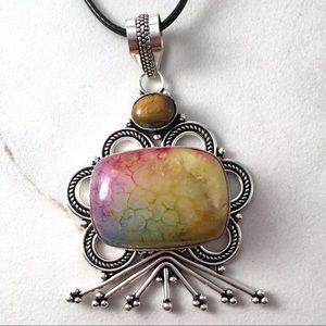 Rainbow Solar Quartz & Tigers Eye Necklace